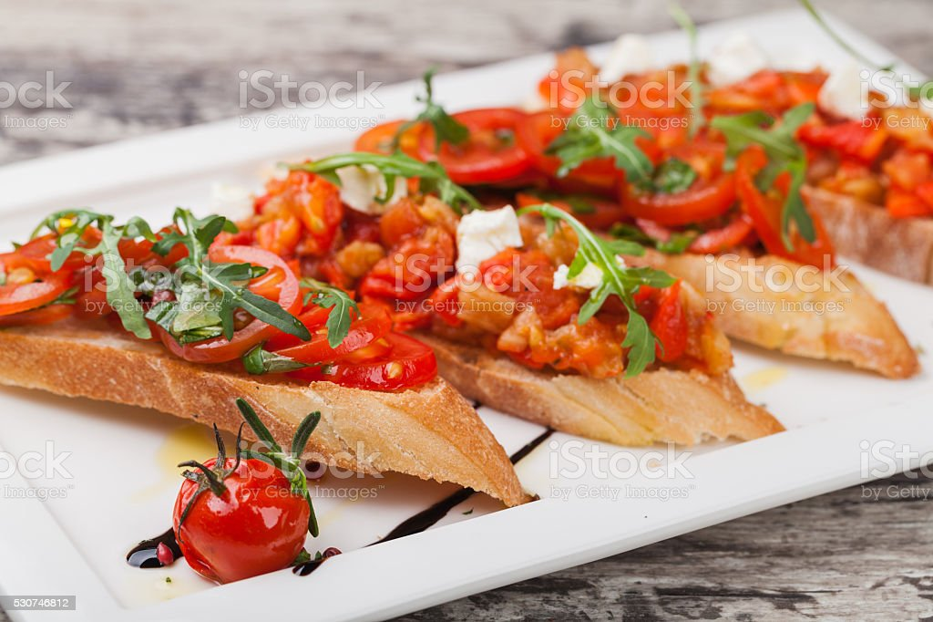 bruschettas stock photo