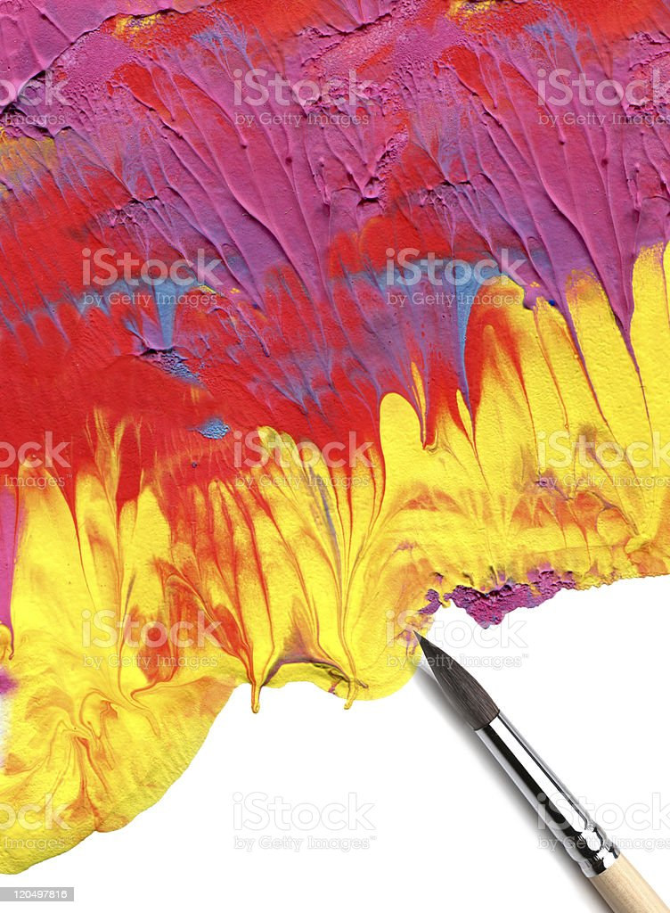 brush and abstract acrylic paint stock photo