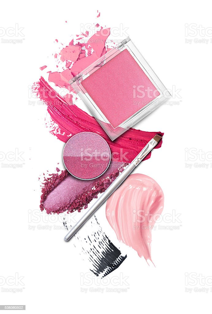 Brush and cosmetic elements on white stock photo