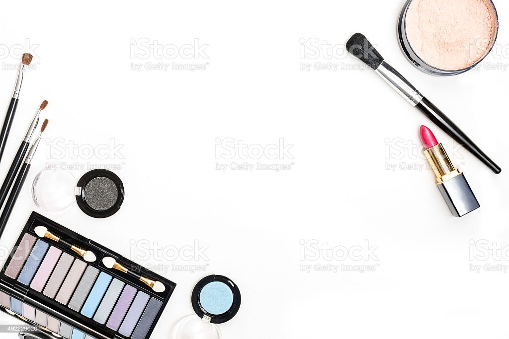 Brush and cosmetic isolated on a white background. Top view. stock photo