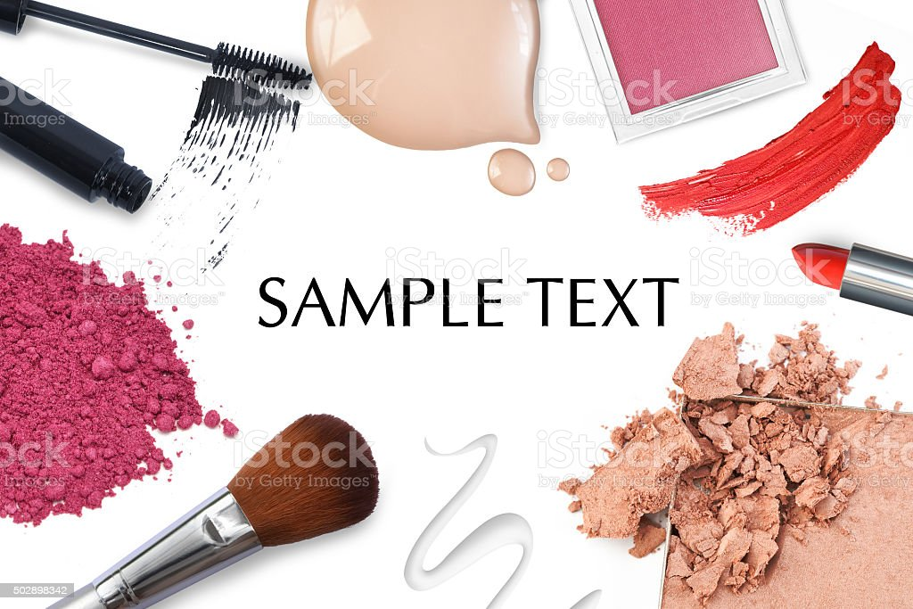 Brush and cosmetic on a white background stock photo