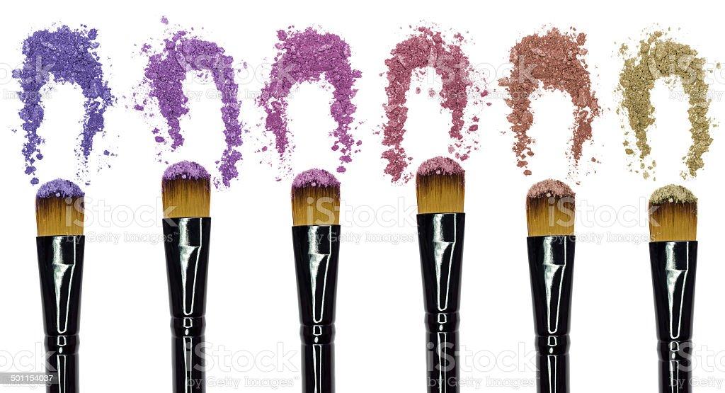 brush and crushed eyeshadow stock photo