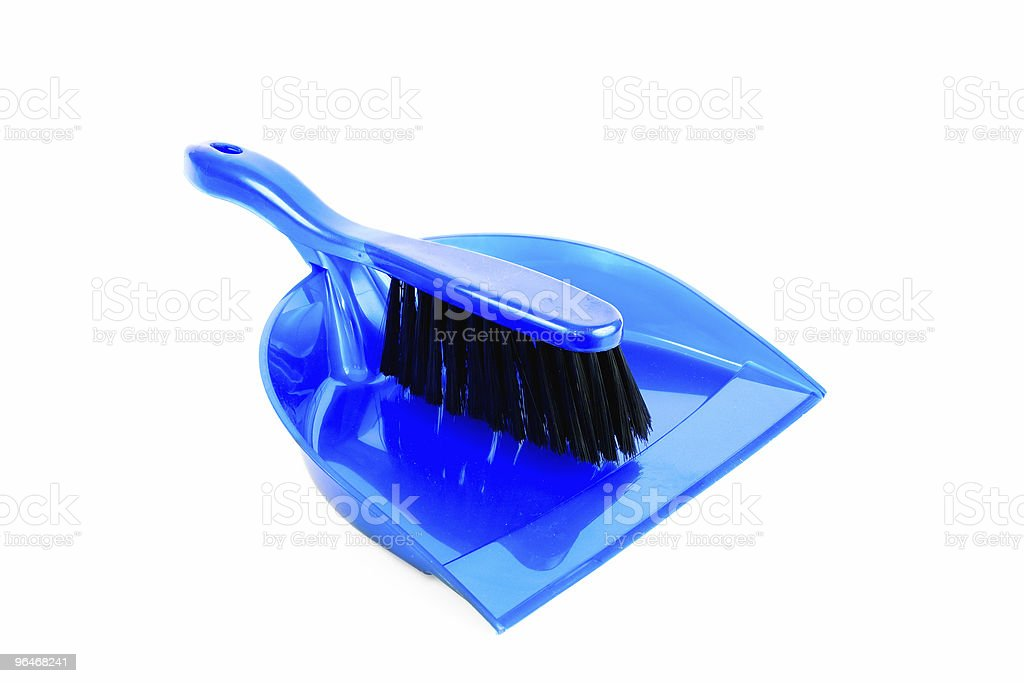 Brush and dustpan  blue color stock photo