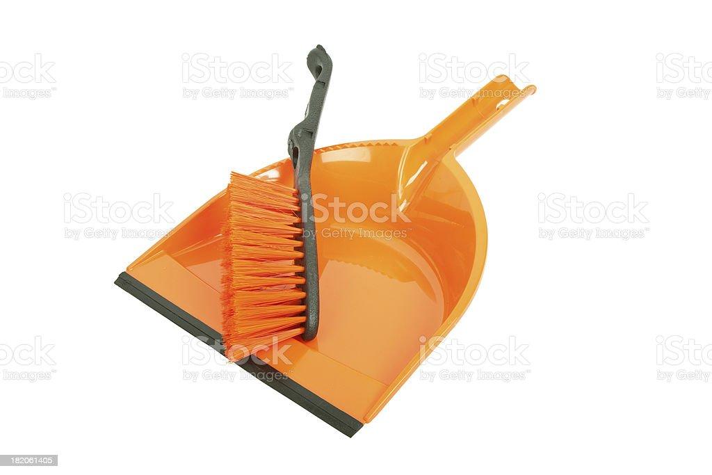 Brush and dustpan stock photo