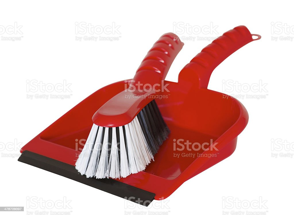 brush and dustpan together and ready for spring cleaning stock photo