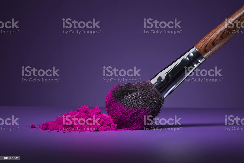 Brush and face powder stock photo