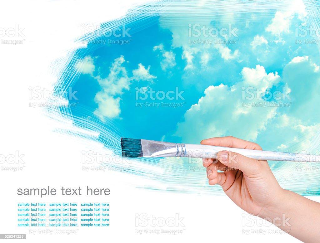 brush and paint on white background stock photo
