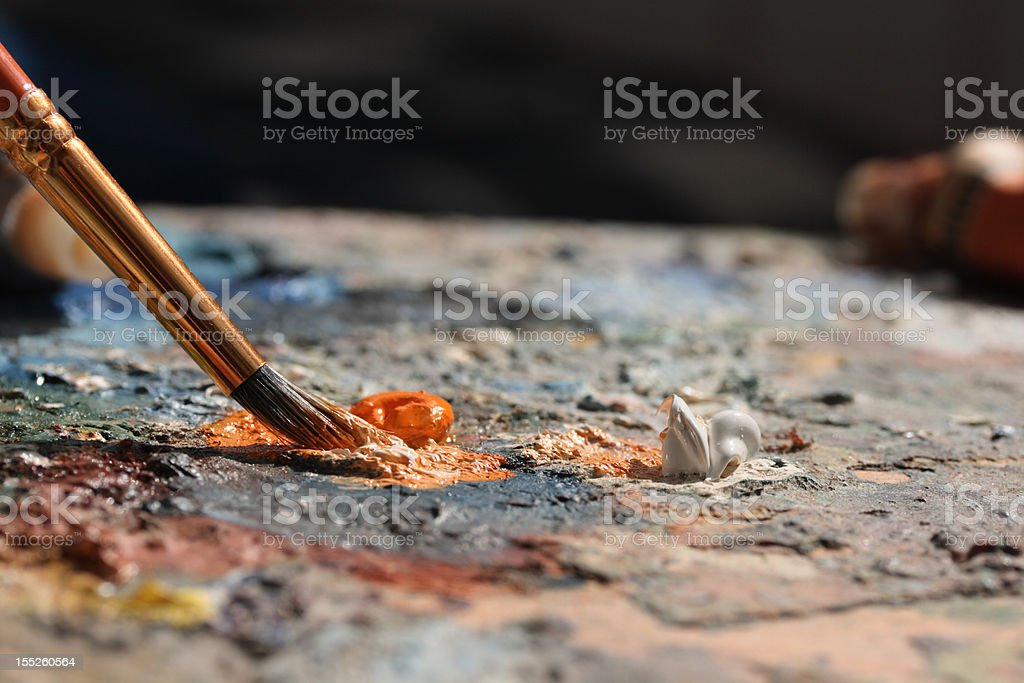 brush and palette royalty-free stock photo