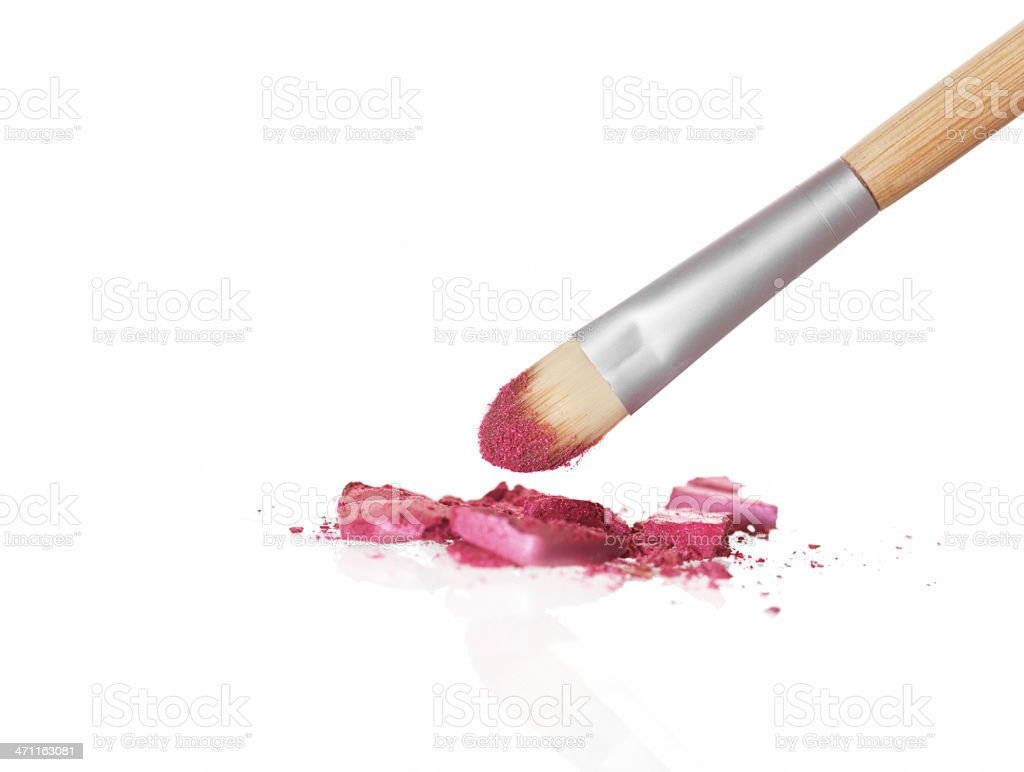 Brush and pink eyeshadow royalty-free stock photo
