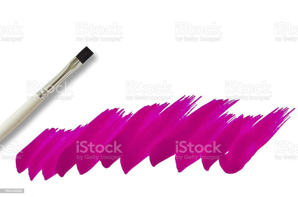 Brush and pink watercolor painted royalty-free stock photo