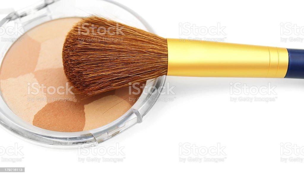 Brush and powder box. royalty-free stock photo