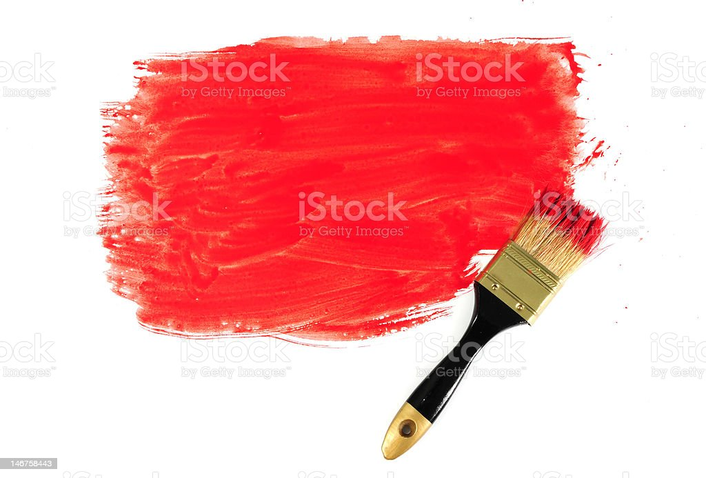 Brush and red paint royalty-free stock photo