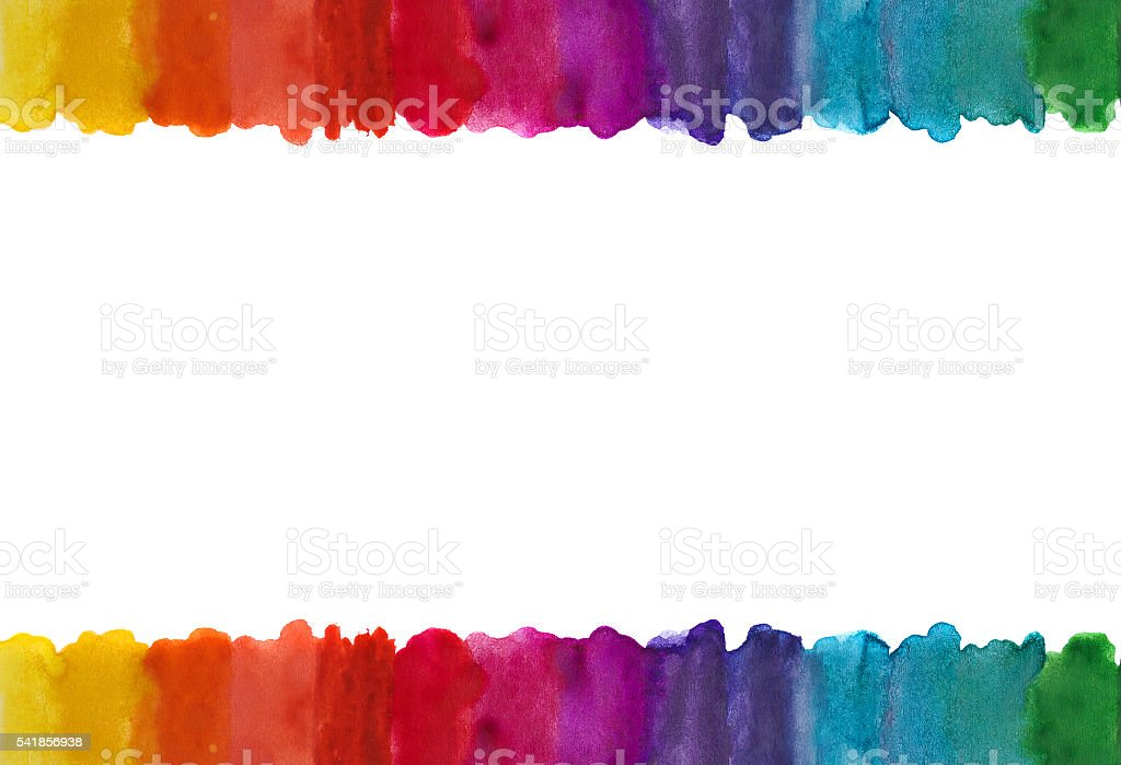 Brush draws colored lines isolated on white. stock photo