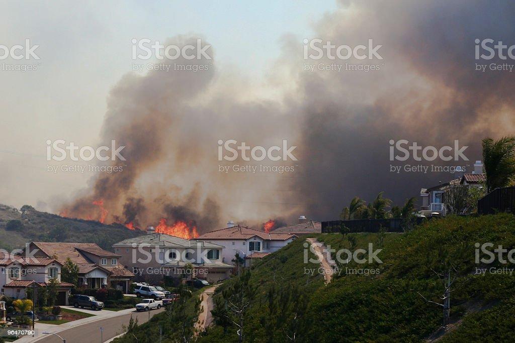 Brush Fire Near Homes stock photo