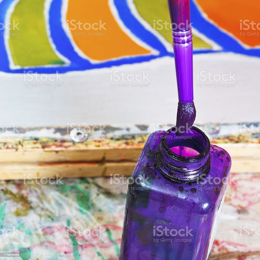 brush in bottle with dye royalty-free stock photo