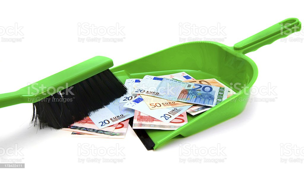 Brush, scoop and money (euro). royalty-free stock photo