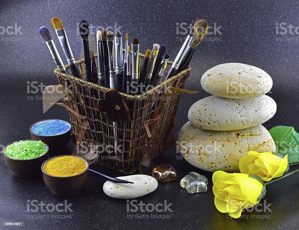 Brush settings with white stones stock photo