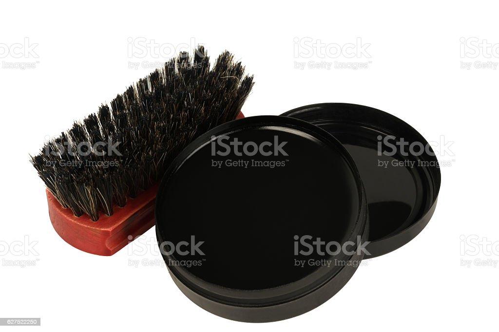 Brush shoes with black jar of cream stock photo