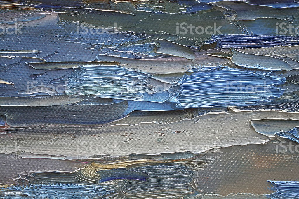 Brush stokes of blue and white oil pants on canvas vector art illustration