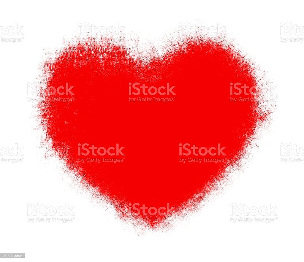 Brush stroke heart shape background isolated on white stock photo