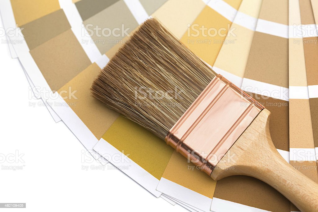 brush with color palette guide stock photo