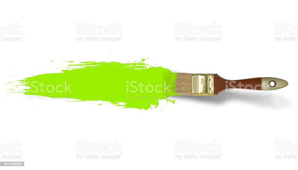 Brush with green paint stroke isolated on white background stock photo