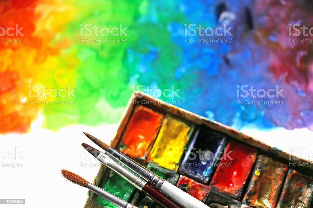 Brush with paints watercolor vector art illustration