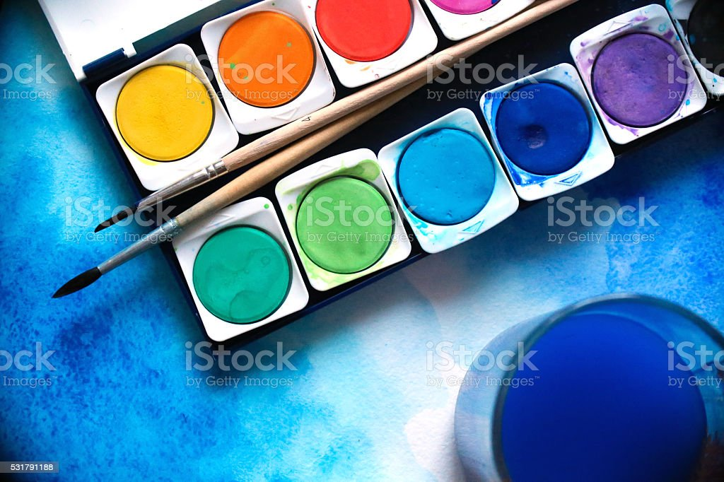Brush with paints watercolor stock photo