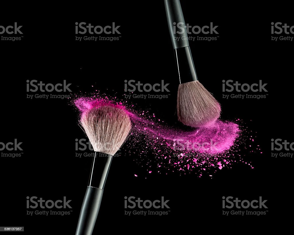 Brush with powder stock photo
