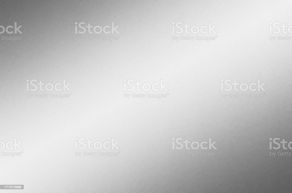 Brushed aluminium steel plate background, copy space stock photo