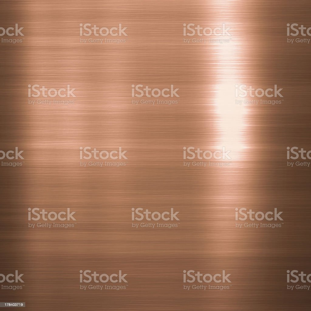 Brushed copper metallic plate stock photo