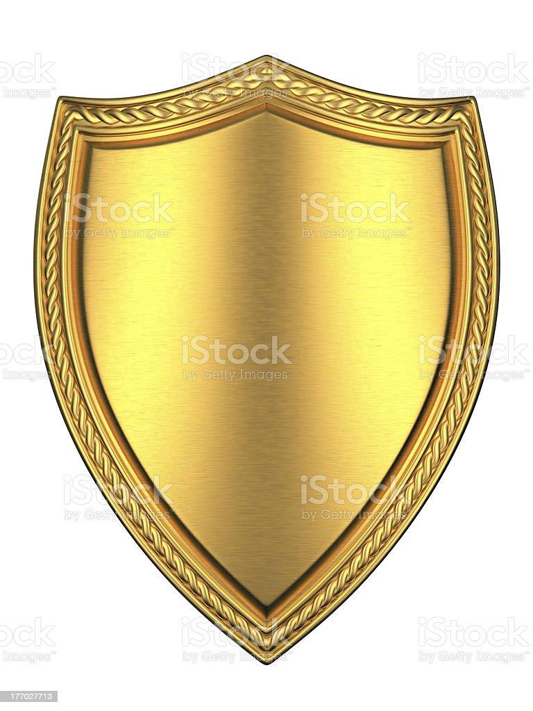 Brushed Gold shield royalty-free stock photo