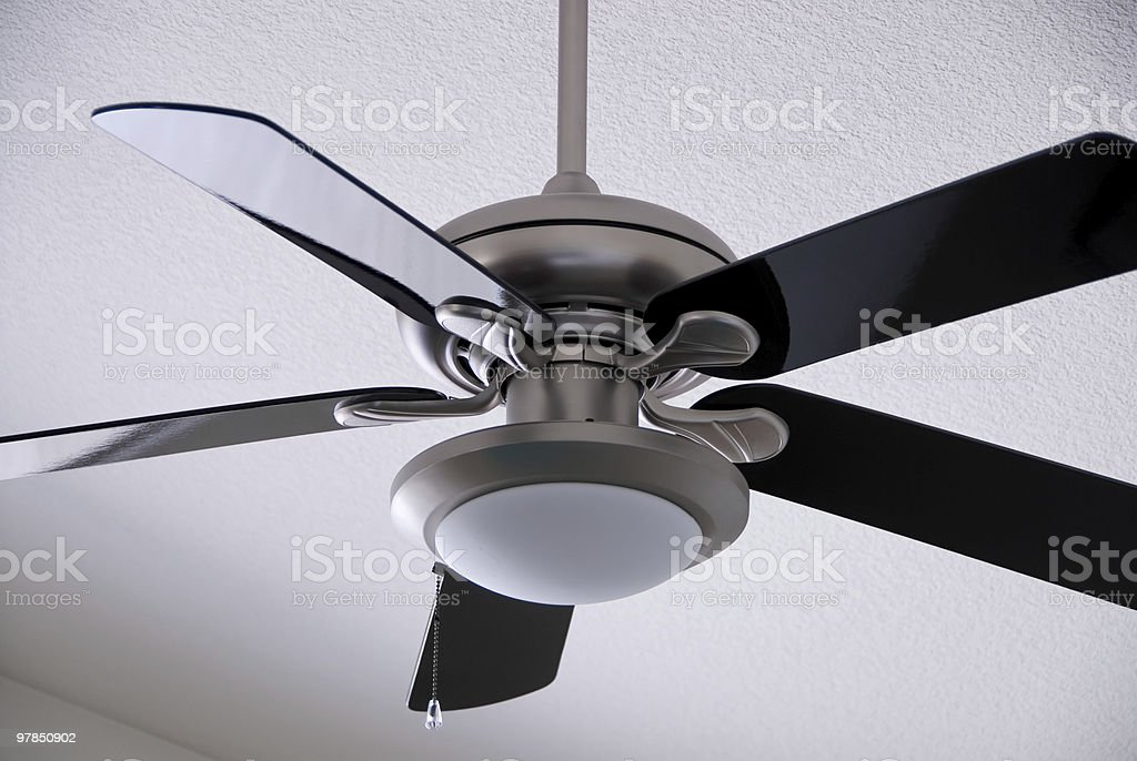 Brushed Metal Ceiling Fan stock photo