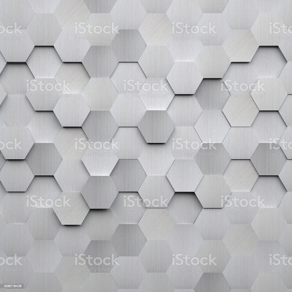 Brushed Metal Hexagon Background stock photo