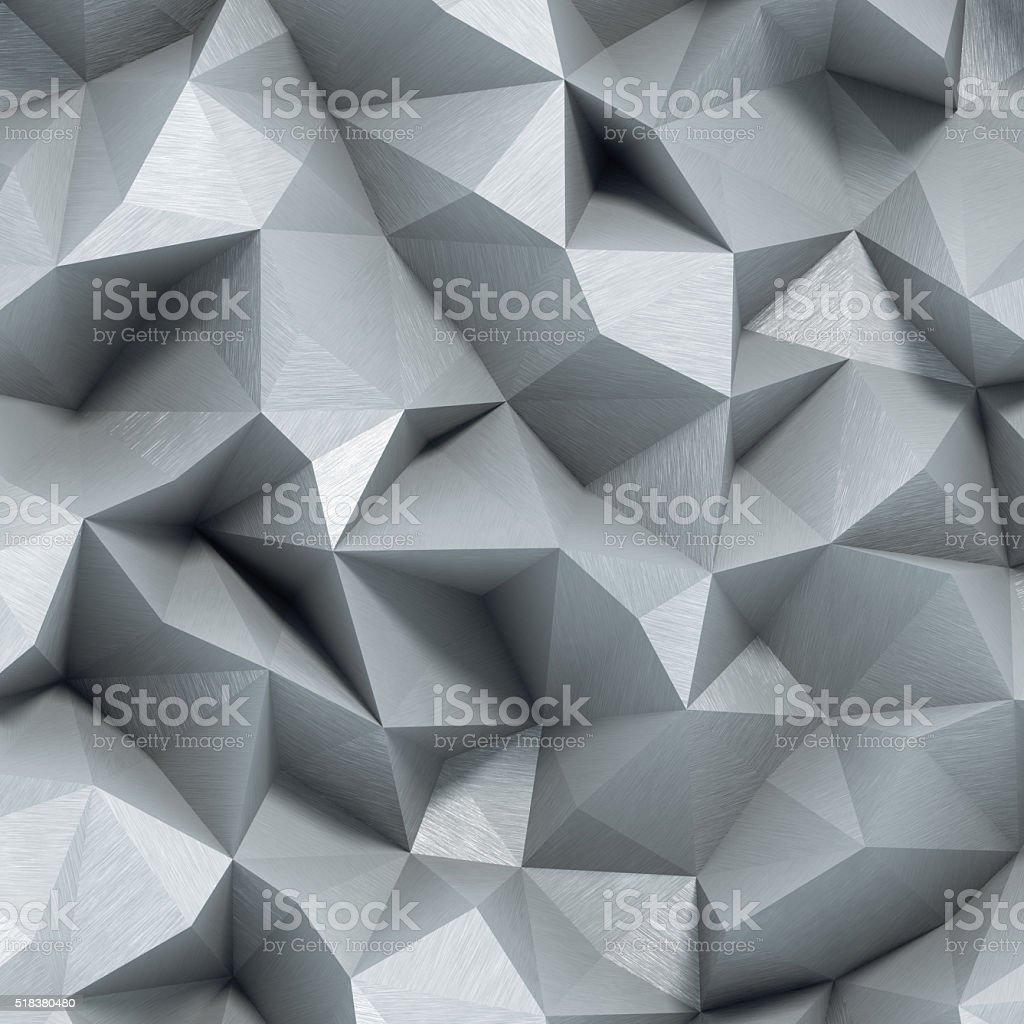 Brushed metal polygonal background stock photo