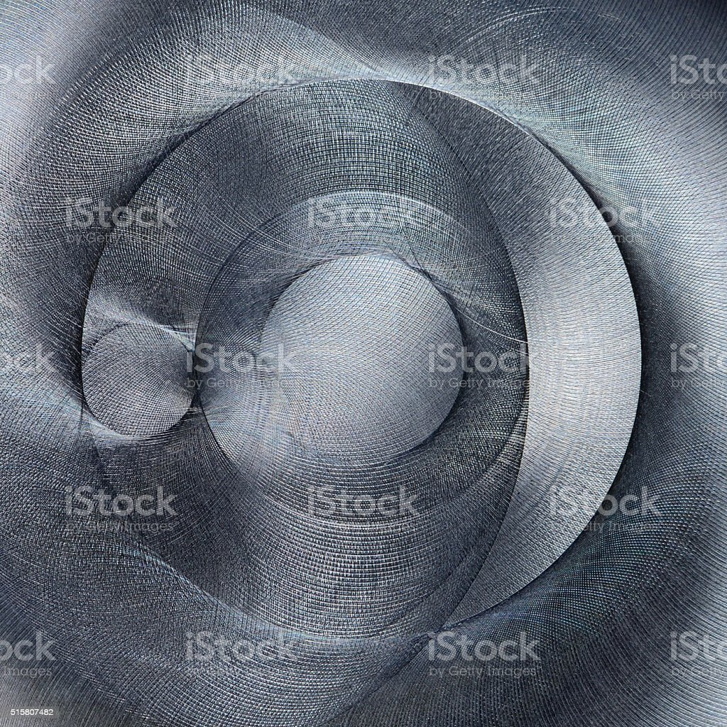 Brushed metal texture. Abstract interesting, atypical, irregular non-typical circle shape stock photo