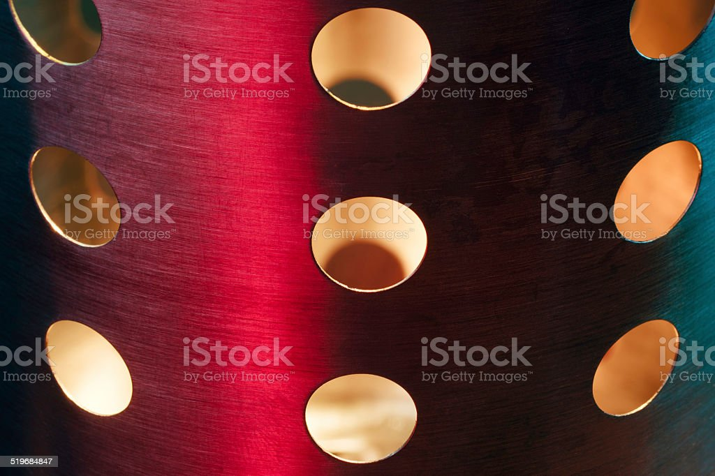 Brushed steel with bright light and colours stock photo