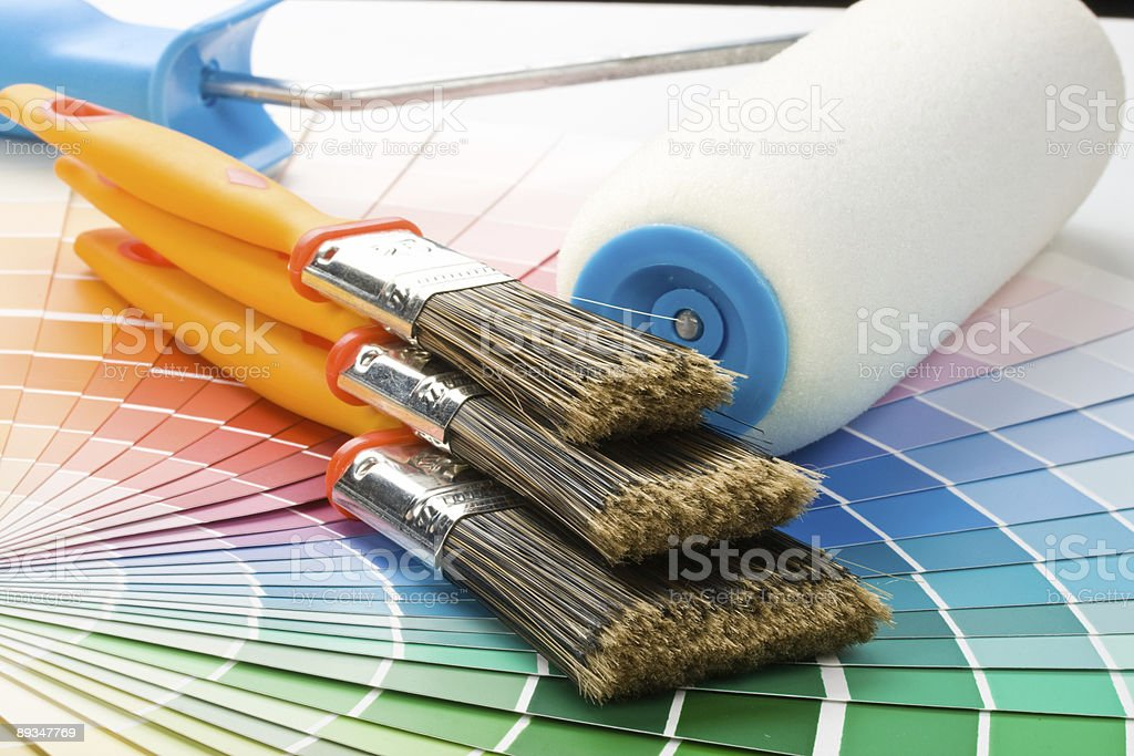 Brushes and paint-roller royalty-free stock photo