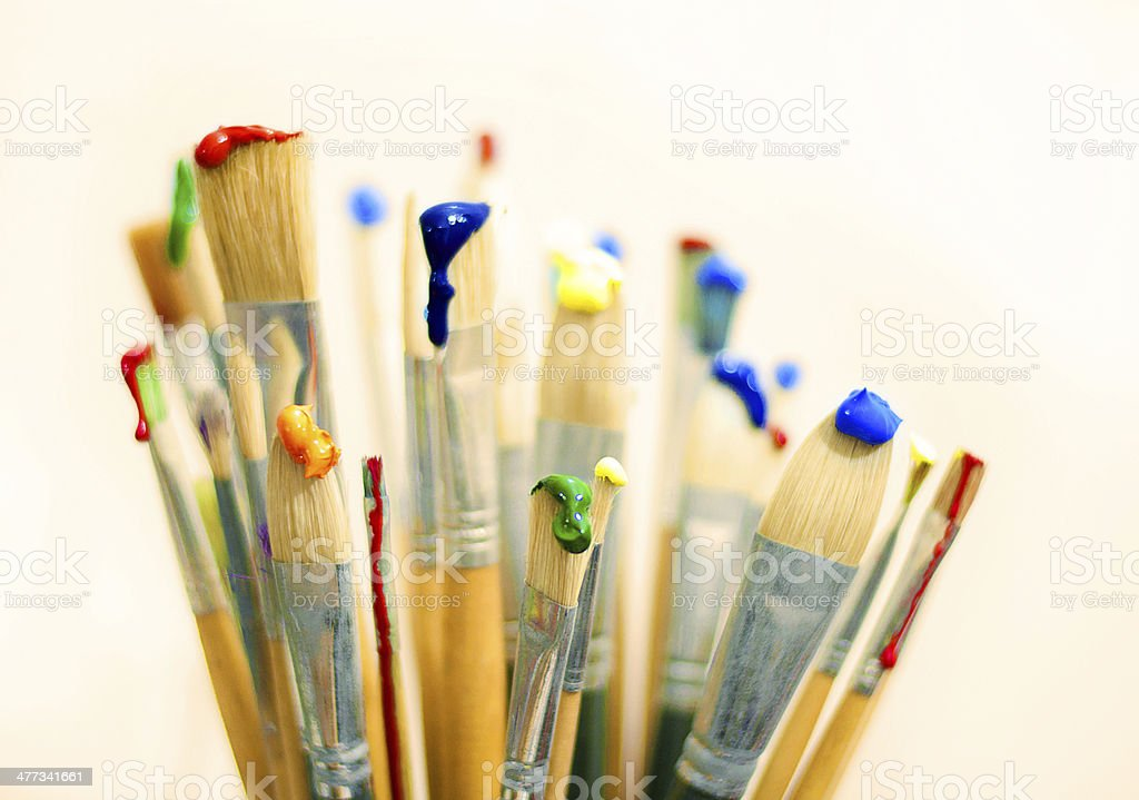 brushes and paints stock photo