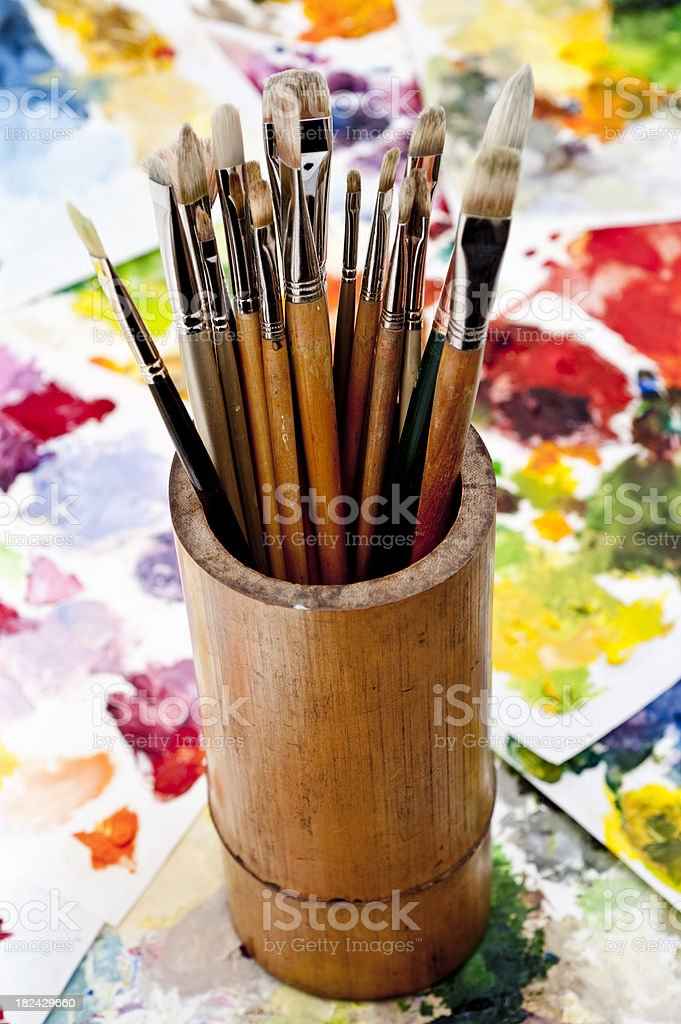 Brushes and palette royalty-free stock photo