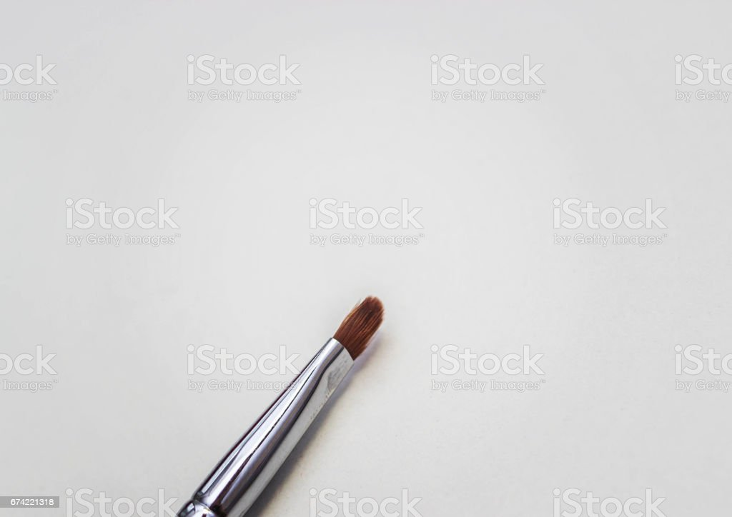 Brushes for make-up and precious stones. stock photo