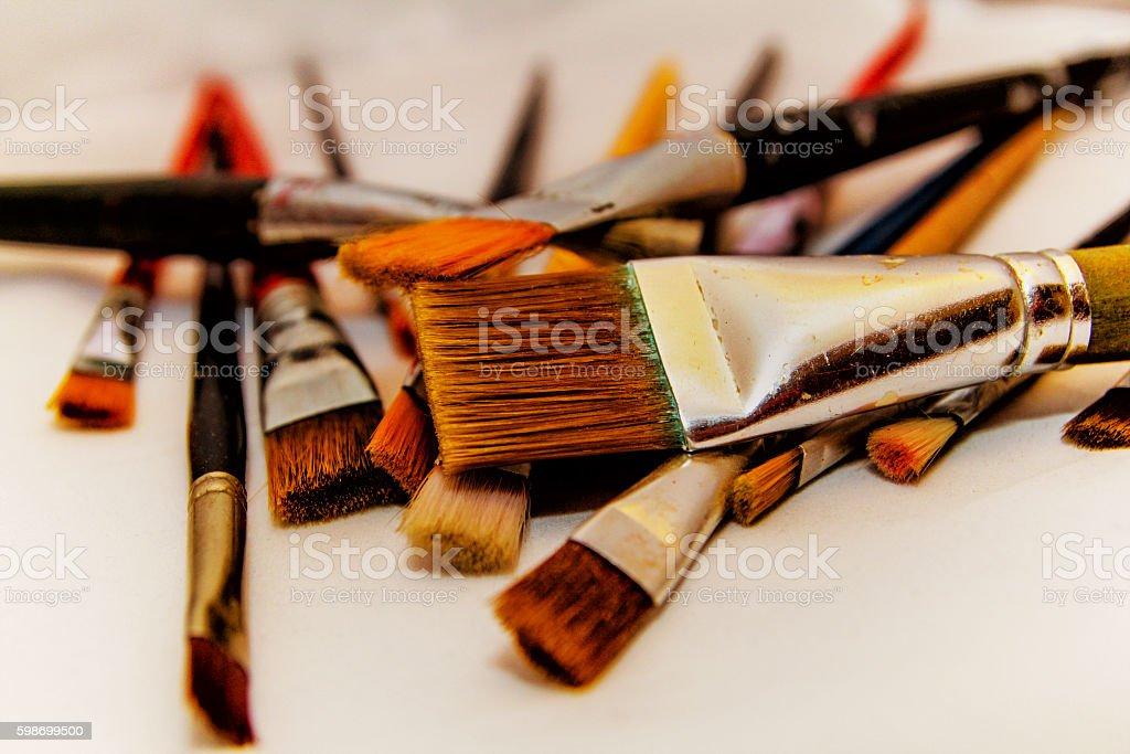 Brushes for painting white background stock photo