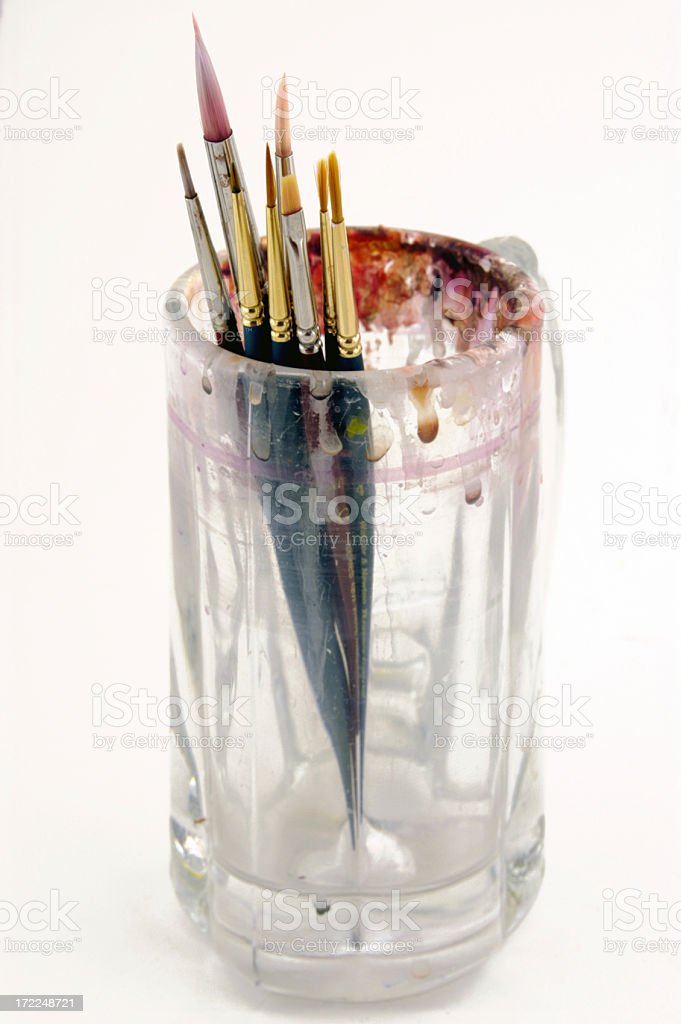 Brushes in a jar royalty-free stock photo