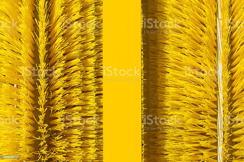 Brushes of cleaning oil spill machine stock photo