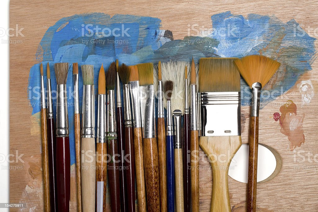 Brushes on a Palette royalty-free stock photo
