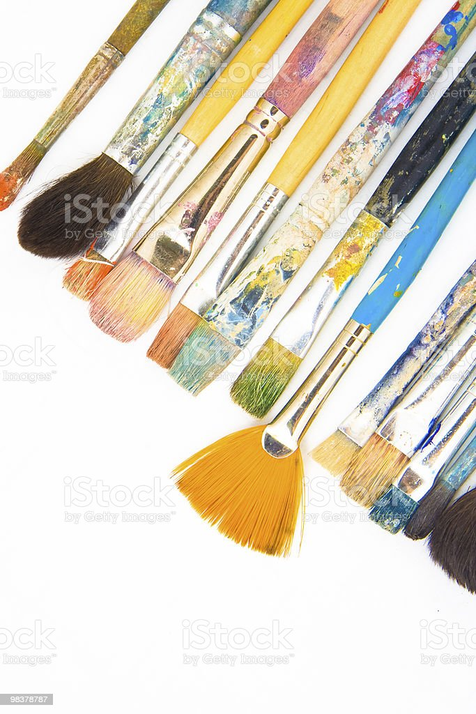 brushes on white background. intresting composition royalty-free stock photo