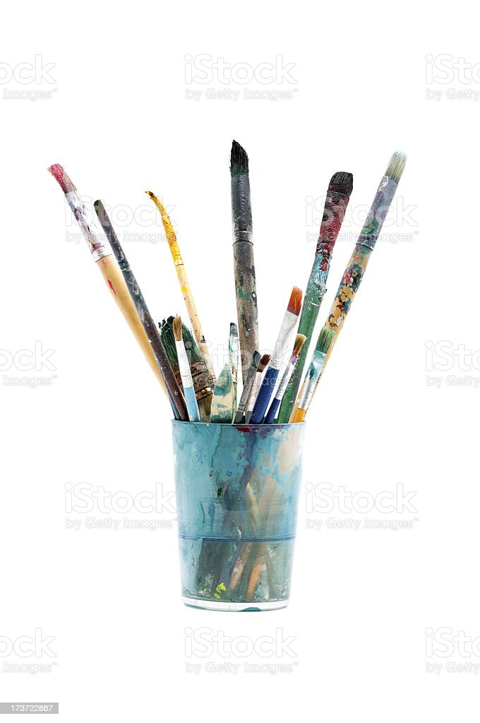 Brushes used in crystal glass stock photo