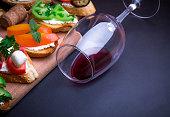 Brushetta set for wine