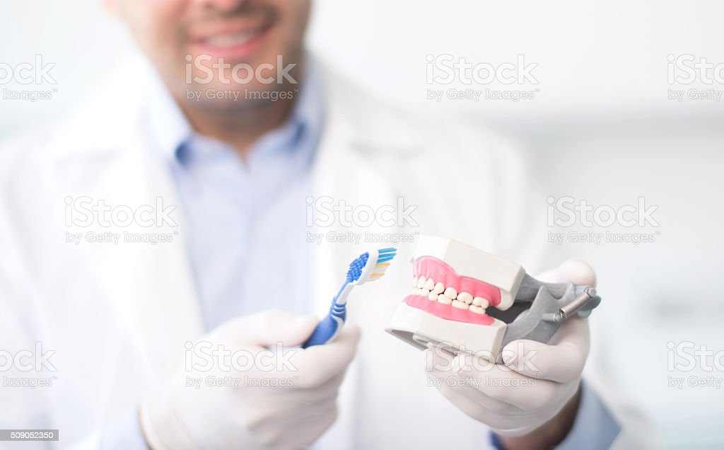 Brushing teeth on a denture - oral health concepts stock photo