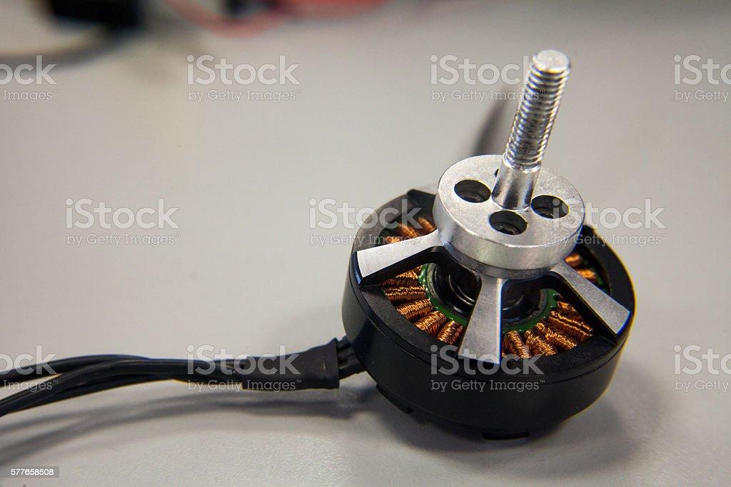 Brushless electronic motor propeller for drone stock photo
